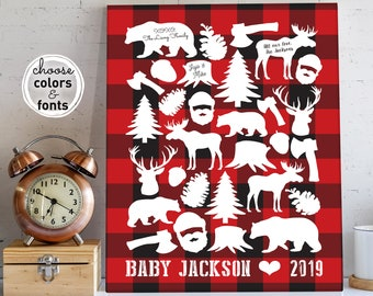 Lumberjack Baby Shower Guest Book Alternative, Red Buffalo Plaid Baby Gift, Personalized Nursery Wall Art Canvas