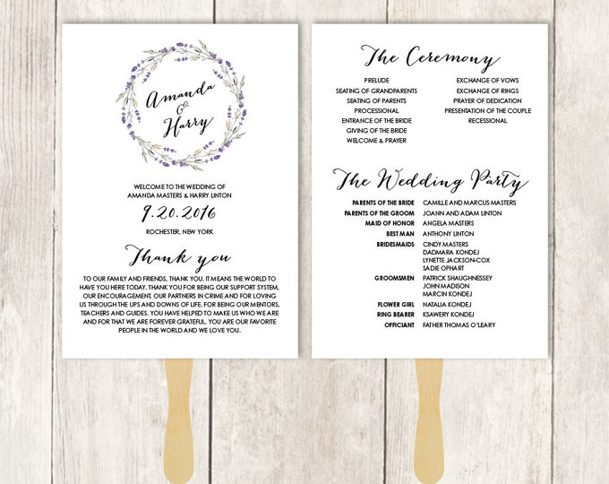 Floral Wedding Program Fan DIY / Rustic Lavender Wreath Flower, Twig / Bridal Party, Schedule ▷ Printable {or} Printed *** ASSEMBLY REQUIRED