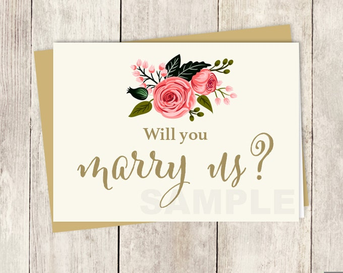 Will You Marry Us? Officiant/Minister Card DIY // Watercolor Flower // Gold Calligraphy, Rose // Wedding Card Printable ▷ Instant Download