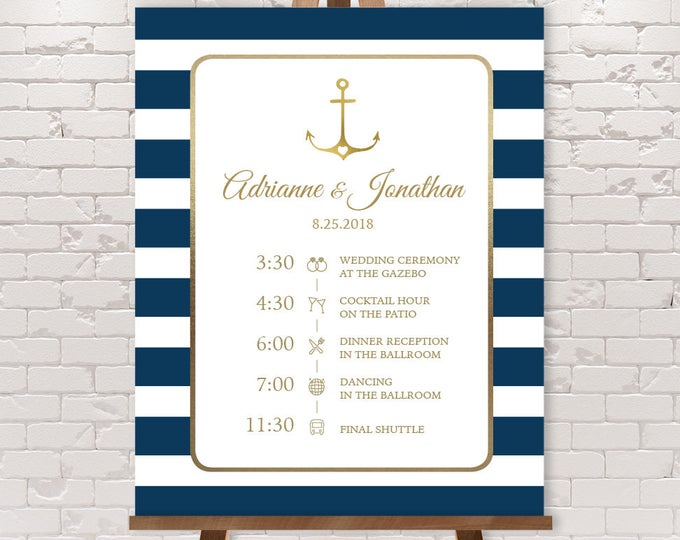 Wedding Timeline Sign / Wedding Itinerary Agenda, Icons / Nautical Stripes / Gold Anchor, Navy Stripes▷Printable File {or} Printed & Shipped