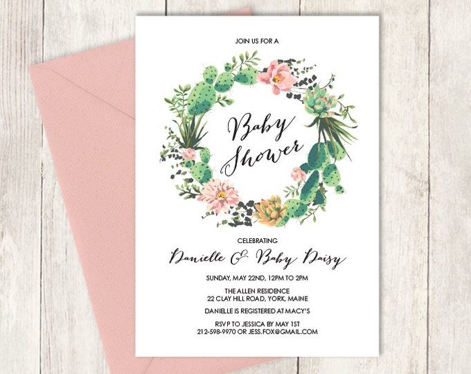Floral Baby Shower Invitation DIY // Pink Flowers and Cactus Succulent // Mexican Fiesta // Printable PDF ▷ Baby Shower Invite Printable