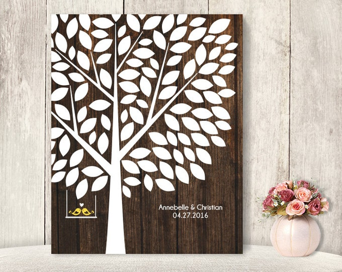"Wedding Guest Book Alternative Poster / Guest Tree on Dark Wood, Love Birds / ""Leaving Wishes"" 100 ▷ Printable File {or} Printed & Shipped"