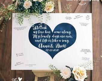 Wedding Guest Book Alternative > Boho Calligraphy on Navy Blue Watercolor Heart, Wedding Song Lyrics Canvas Guestbook Sign