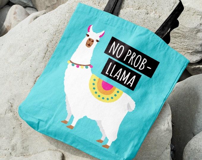 "Llama Tote Bag, Funny Llama Gift Idea for Her, Bright Neon Turquoise Blue Bag, Boho Christmas Gift under 35 • ""No Probllama"""