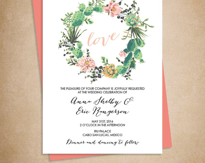 Floral Wedding Invitation /  Pink Flowers and Cactus Succulent / Mexican Fiesta ▷ Printed Wedding Invitations {or} Printable