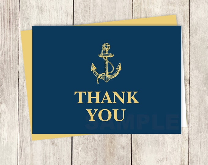 Nautical Thank You Card DIY / Gold Anchor / Nautical Card / Gold and Navy / Wedding Thank You Printable PDF ▷ Instant Download