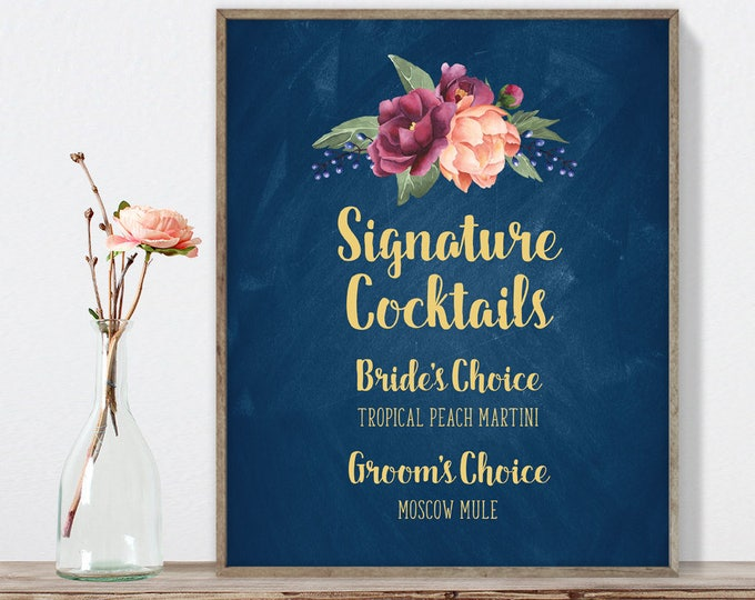 Marsala Signature Cocktail Sign / Bar Sign / Peonies, Berries, Navy Chalkboard, Blush, Gold and Navy ▷ Printable File {or} Printed & Shipped