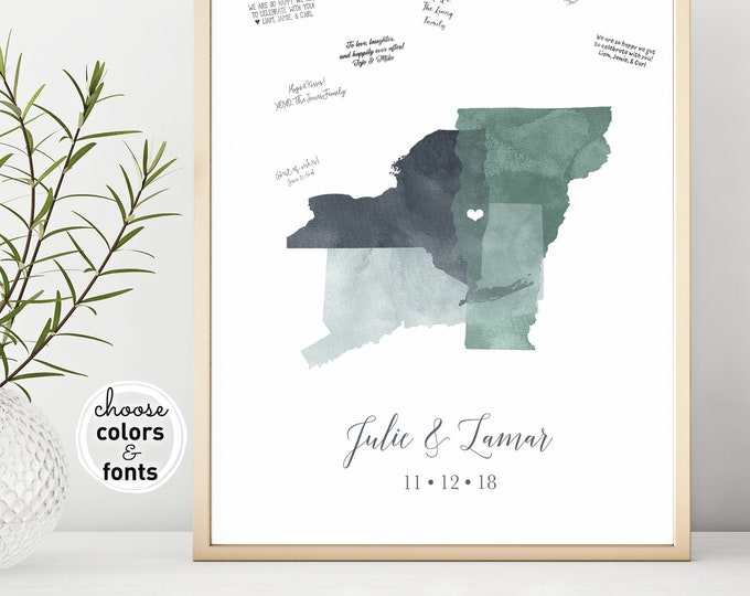 Modern Guest Book Alternative Canvas, Personalized Map Guest Book for Minimalist Wedding, Gray and Green Watercolor Wedding Sign