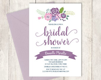 Floral Bridal Shower Invitation / Rustic Flower Charm / Purple: Amethyst, Lilac, Pink Wildflowers ▷ Printed Heavy Paper {or} Printable