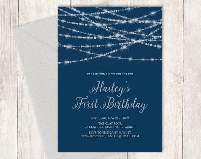 Elegant Birthday Invitation DIY / Festive Bokeh String Light / Navy and Silver Calligraphy / First Birthday ▷ Printable Birthday Invite