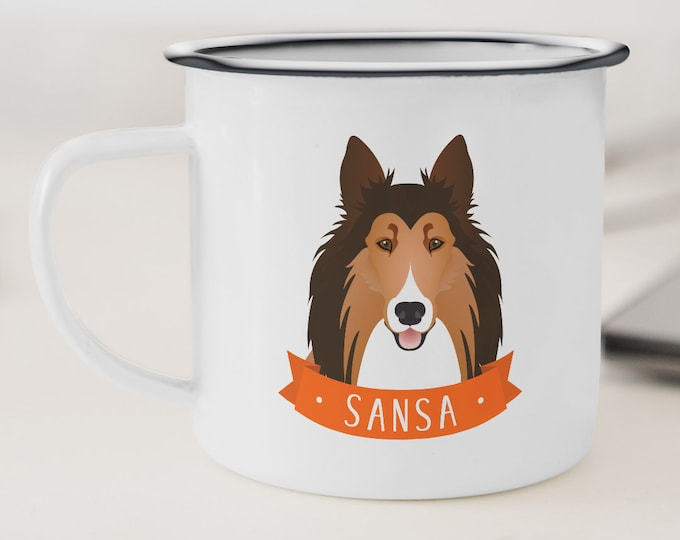 Collie Mug Stainless Steel, Collie Mom Gift Idea, Camping Mug Personalized Dog Portrait, Collie Gift under 30