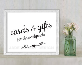 Cards And Gifts For The Newlyweds // Wedding Sign DIY // Elegant Calligraphy Printable Poster PDF // Classic Elegance ▷ Instant Download