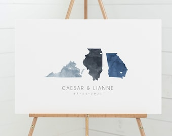 Wedding Guestbook Alternative > map guest book canvas with 3 states, blue gray watercolor state map (Virginia, Illinois, Georgia)