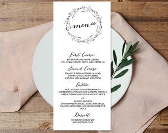 Floral Menu Card / Custom Wedding Menu / Rustic Lavender Wreath Flower, Twig ▷ Printable File {or} Printed & Shipped