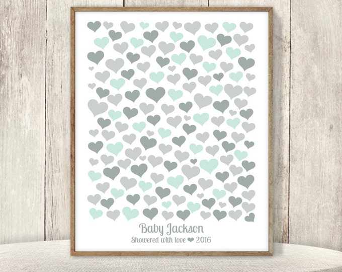 Heart Guest Book Alternative Poster / Baby Shower Sign In / Mint and Gray / Baby Birthday ▷ Printable File {or} Printed & Shipped