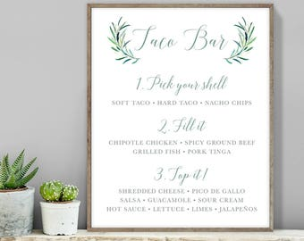 Greenery Taco Bar Sign / Tacos Sign / Eucalyptus Crest / Green Olive Branch, Eucalyptus Branches ▷ Printable File {or} Printed & Shipped