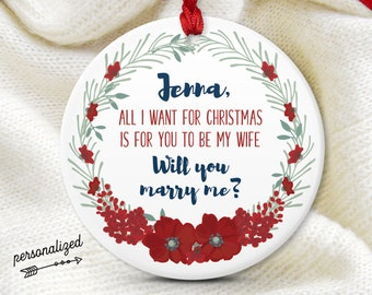 Christmas Proposal Ornament, December Proposal Prop, Personalized Ornament, Will You Marry Me?, Girlfriend Gift Idea, Red and White
