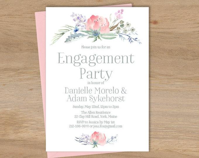 Boho Engagement Party Invitation / Blush Flowers, Boho Flowers, Bohemian Greenery, Wildflowers ▷ Printed Wedding Invitations {or} Printable