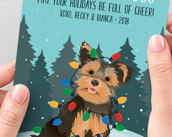 Yorkie Christmas Card, Unique Holiday Cards with Custom Pet Portrait, Funny Dog Holiday Card, Yorkshire Terrier Xmas Card