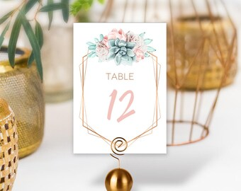 Succulent Table Numbers, Wedding Table Name 5x7s for Southwestern Wedding, Blush Flower, Faux Metallic Copper Cactus > PRINTED Table Numbers