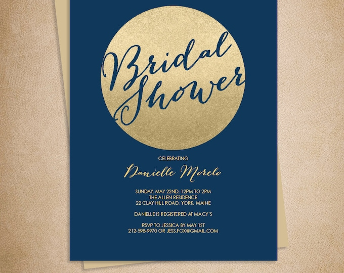 Gold Sparkle Bridal Shower Invitation / Metallic Gold Glitter Circle on Navy Blue Printable  ▷ Printed Heavy Paper {or} Printable
