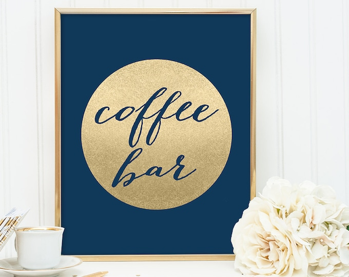 Coffee Bar Sign DIY / Wedding Dessert / Navy and Gold Wedding Sign / Metallic Gold Sparkle Circle / Champagne Gold ▷ Instant Download JPEG