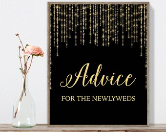 Advice for the Newlyweds Sign DIY / Gold Wedding Sign / Great Gatsby, Bokeh Light / Black and Gold Calligraphy ▷Instant Download JPEG