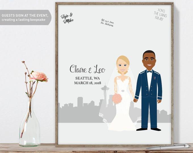 Portrait Guest Book Alternative for Seattle Wedding, Navy Wedding, Custom Cartoon Portrait Guestbook Printable