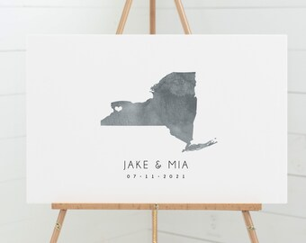 New York GUEST BOOK alternative > Wedding sign in with gray watercolor art, minimalist NY state guestbook for Buffalo wedding