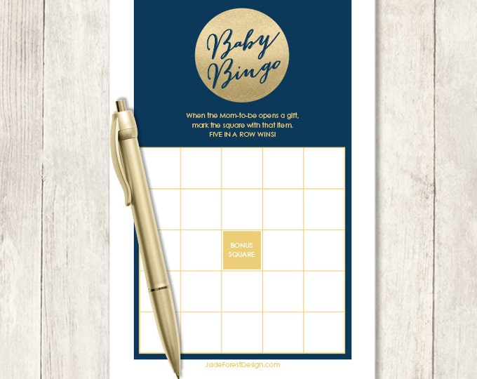 Gold Sparkle Baby Shower Bingo Game DIY / Metallic Gold and Navy / Champagne Gold / Baby Bingo Printable PDF Game ▷ Instant Download