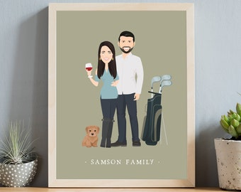 Personalized portrait sign > Unique gift with neutral olive green background, Framed canvas couple portrait with hobbies, Golf art and wine