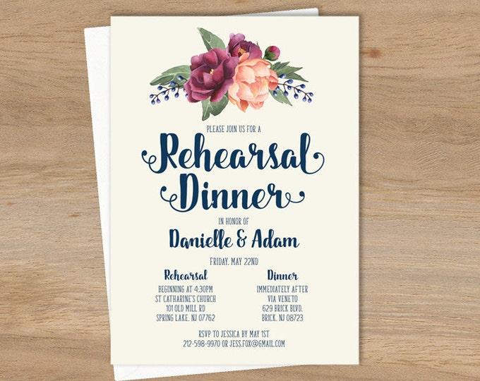 Purple Rehearsal Dinner Invitation / Peony Berry Bouquet, Peach Blush Pink Ranunculus, Fall Wedding ▷ Printed Invitations {or} Printable