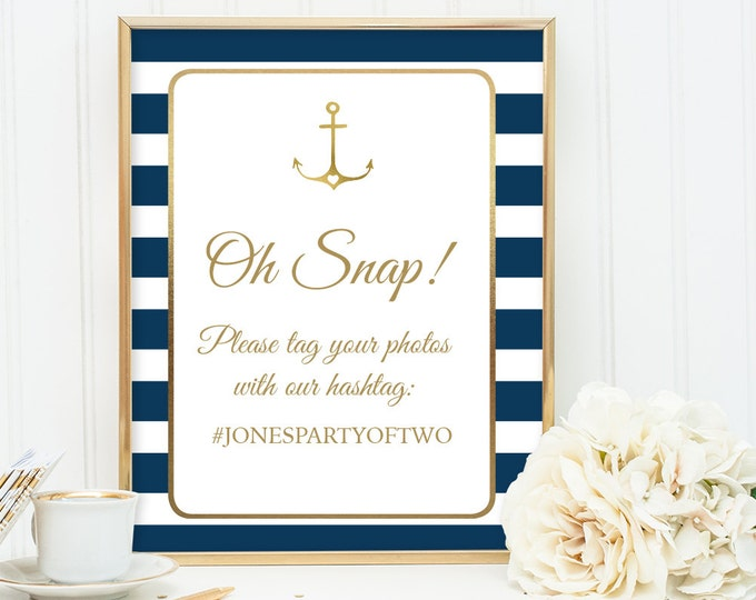 Nautical Wedding Hashtag Sign / Instagram Sign / Nautical Stripes / Navy Stripes, Gold Anchor ▷ Printable File {or} Printed & Shipped