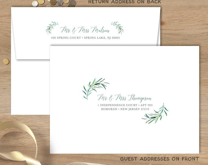 Greenery Envelopes with Guest & Return Address Printing / Eucalyptus Crest / Initial Monogram Crest, Leaves ▷ INVITE {or} RSVP Envelopes