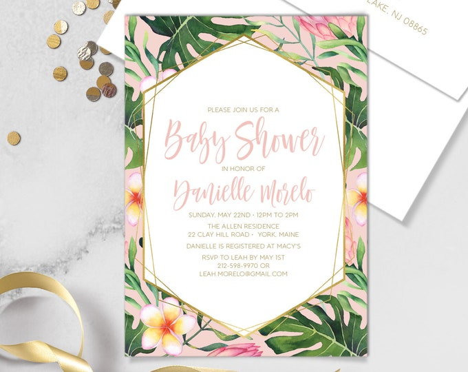 Tropical Baby Shower Invite / Pink and Gold, Tropical Leaf Print / Blush Baby Shower, Printable Invitation, Customizable Printed Invitations