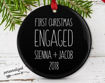 Modern Engagement Ornament, Christmas Engagement Gift for Couple, Minimalist Black and White