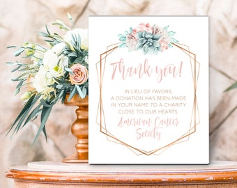 Succulent Thank You Sign / Charity Donation / Blush Flower Succulent Bouquet Faux Metallic Copper Cactus ▷Printed Paper, Canvas or Printable