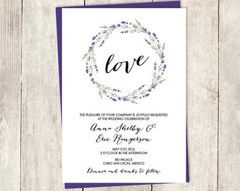 Rustic Wedding Invitation /  Lavender Purple, Rustic Lavender Wreath, Branch, Twig ▷ Printed Wedding Invitations {or} Printable
