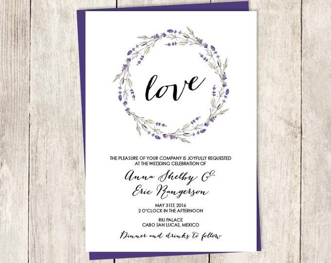 Rustic Wedding Invitation /  Lavender Purple, Rustic Lavender Wreath, Branch, Twig ▷ Printed Wedding Invitations {or} Printable
