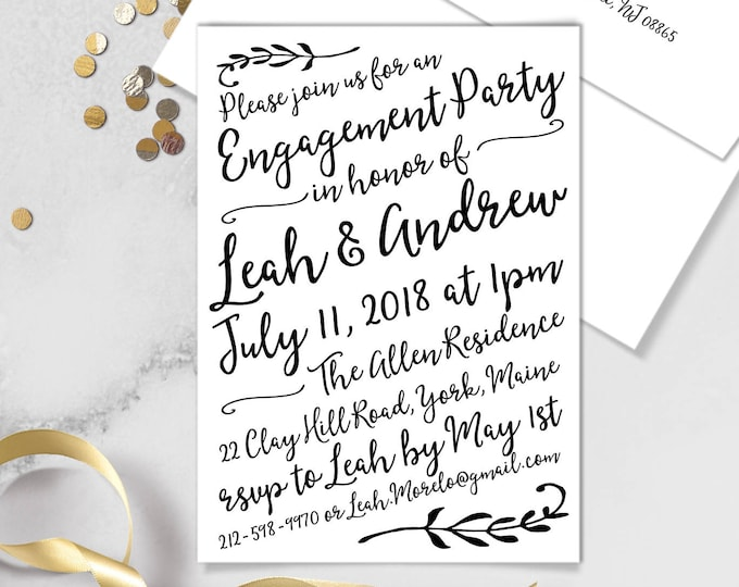 Boho Calligraphy Engagement Party Invitation / Modern Romantic Invite / Neutral Black & White Monochrome ▷Printed Invitations {or} Printable