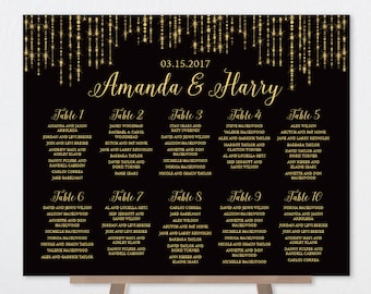 Wedding Seating Chart Sign / Great Gatsby Inspired Bokeh String Light / Black and Gold Calligraphy ▷ Printable File {or} Printed & Shipped