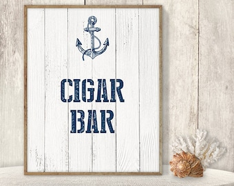 Cigar Bar Sign // Wedding Reception Sign DIY // Nautical Sign, Navy Anchor Printable PDF // Nautical Planks ▷ Instant Download