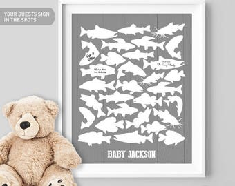 Fishing Guest Book Alternative / Freshwater Fish / Trout Salmon Pike Bass Carp / Fishing Poster / Gray Nursery ▷Canvas, Paper {or} Printable