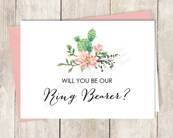 Rustic Will You Be Our Ring Bearer Card DIY Printable / Wedding Card / Cactus Succulent, Coral Flower Wreath Fiesta ▷ Instant Download