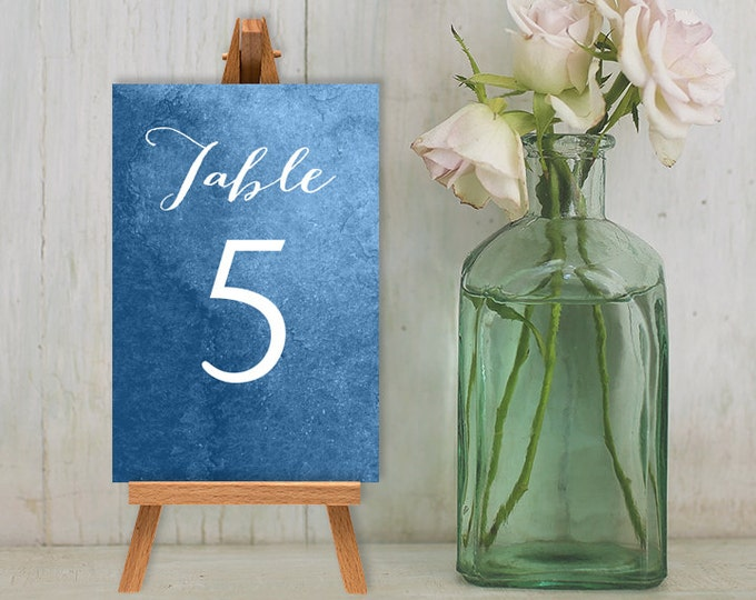 Wedding Reception Table Number DIY // Calligraphy on Sapphire Blue Guest Seating Sign Printable PDF // Numbers 1 to 20 ▷ Instant Download