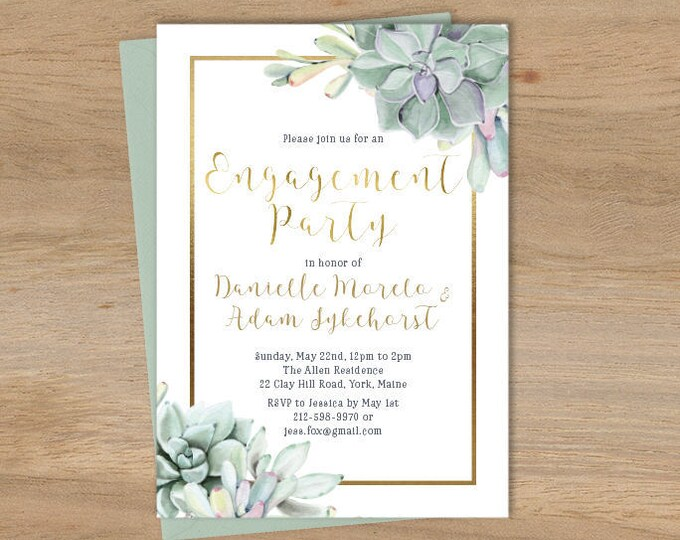 Succulent Engagement Party Invitation / Greenery and Gold Geometric / Green Cactus and Gold ▷ Printed Wedding Invitations {or} Printable