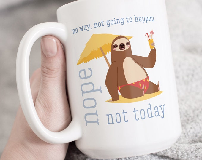 Beach Sloth Mug, Beach Bum Gift Idea, Tropical Christmas Gift, Funny Sloth Stocking Stuffer Coffee Mug