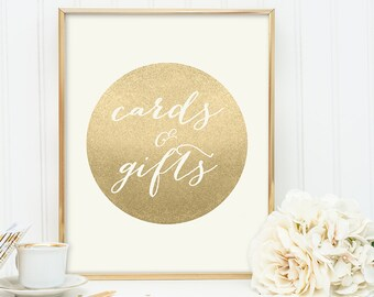 Cards & Gifts Sign / Gold Sparkle Wedding Sign DIY / Metallic Gold and Cream / Champagne Gold ▷ Instant Download JPEG