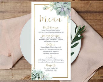 Succulent Menu Card / Wedding Menu / Greenery and Gold Geometric / Green Cactus and Gold Calligraphy ▷ Printable File {or} Printed & Shipped