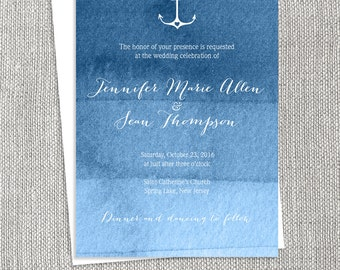 Nautical Wedding Invitation / Ombre Navy Watercolor Wedding Invitation / Nautical Watercolor ▷ Printable File {or} Printed & Shipped